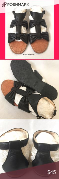 Authentic Coach Leather Sandals 💯AUTHENTIC 💕 Gorgeous Tracy black leather sandals from Coach 🌹 Size 7 1/2. In very good condition. NO TRADE ❌ Coach Shoes Sandals