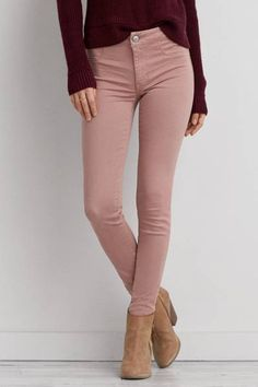 Low twist yarn enhances the natural softness of our Extreme Jegging in AEO Sateen X Pink Jeans Outfit, Colored Jeans Outfits, Jeggings Outfit, Jeans Outfit Winter, Colored Pants, Burgundy Pants Outfit, Jean Outfits, Shirt Outfit, Light Pink Pants