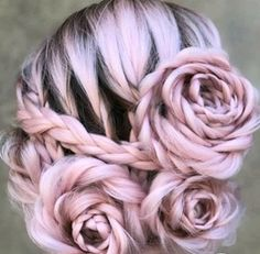 Braided Rose Hairstyle Transforms Ordinary Locks Into a Beautiful Blooming Updo . - Braided Rose Hairstyle Transforms Ordinary Locks Into a Beautiful Blooming Updo – Use BB Hair Ext - Rose Braid, Rose Bun, Pelo Multicolor, Pretty Hairstyles, Rose Hairstyle, Flower Hairstyles, Wedding Hairstyles, Homecoming Hairstyles, Wedding Updo