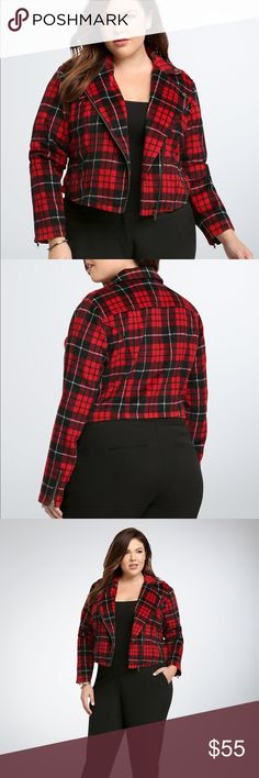 Plaid Moto Jacket Check out this tough Moto jacket from torrid! Fall fashion has never looked this cool with a cropped fit and zippered sleeves. New with tags, never worn. No holes, flaws, stains, or fading. Comes from a smoke and pet free home. Please see size chart for measurements. torrid Jackets & Coats