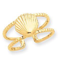 14k Sea Shell Toe Ring  #Fashion #SeaShell #ToeRing  http://www.icecarats.com