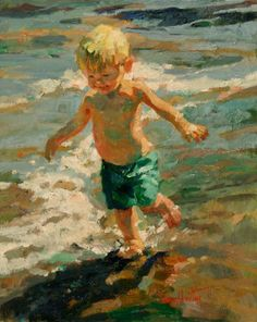 Chasing the Waves by Corinne Hartley Oil ~ 20 x 16 Painting People, Painting For Kids, Figure Painting, Painting & Drawing, Paintings I Love, Beautiful Paintings, Beach Paintings, Atelier D Art, Am Meer