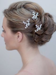 Rhinestones Hair Pins with Freshwater Pearls