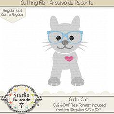Cute Cat, Cute, Cat, gato, gato fofinho, gatinho, fofo, pet love, amor, animal de estimação, farm, fazenda, óculos, glasses, coração, heart,  arquivo de recorte, corte regular, regular cut, svg, dxf, png, Studio Ilustrado, Silhouette, cutting file, cutting, cricut, scan n cut.