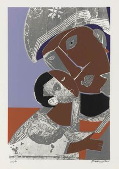 ROMARE BEARDEN (1911 - 1988)  Mother and Child.