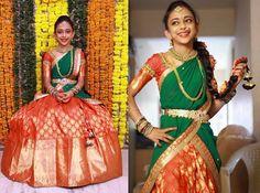 The gorgeous girl looked elegant in her traditional half saree designed by Bhargavi Kunam, Orange benaras heavy lehenga with 6 inch borde...