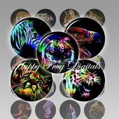 Wildlife fractals - 1.5 inch circles - digital collage sheet - 044 HFD  - Printable Download. $4.20, via Etsy.