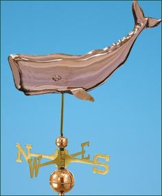 """Cachalot Whale Weathervane - Machine molded American classic. Offered in polished copper. 15"""" H, 28"""" L."""