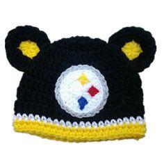 Newborn Baby Girl or Boy Steelers Football Crochet Hat