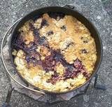 Blackberry Dump Cake plus LIST of camping recipes prepared in a Dutch oven.