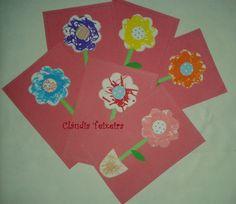 Postal Dia da Mãe - pintura da flor e vaso