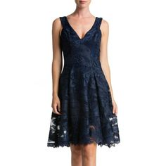 Women's Dress The Population Maya Woven Fit & Flare Dress ($143) ❤ liked on Polyvore featuring dresses, navy, navy fit and flare dress, navy lace dress, lace fit-and-flare dresses, navy blue dress and navy blue fit and flare dress