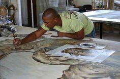 Hand painted fabric emily ziz style studio