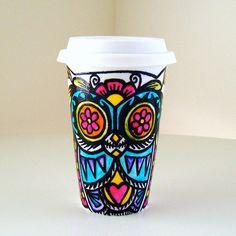 Ceramic Travel Mug Owl Day of the Dead Tribal Tattoo Folk Art hand painted mexican sugar skull Dia de los muertos. via Etsy.