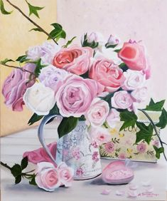 Rose Oil Painting, Painting Edges, Large Painting, Oil Painting On Canvas, Shabby Chic Material, Shabby Chic Hearts, Hearts And Roses, Paintings For Sale, Flower Art