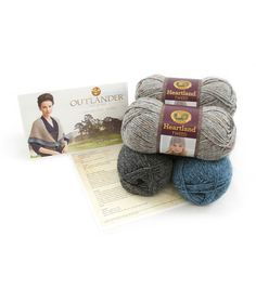 Kit includes Lion Brand Heartland, 1 ball in Glacier Bay,  1 ball in Great Smoky Mountains, and 2 balls in Mount Rainier Tweed, and easy to follow pattern, skill level Easy Finished garment dimensions
