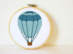 Counted Cross stitch Pattern PDF. Instant download. Hot air balloon. Includes easy beginner instructions.