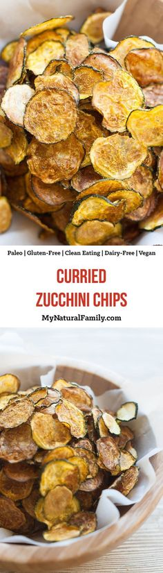 Curried, Baked Zucchini Chips Recipe {Paleo, Gluten Free, Clean Eating, Dairy Free, Vegan, Whole30} - 5 simple ingredients and an oven on low heat is all you need! Dairy Free Recipes, Paleo Recipes, Real Food Recipes, Snack Recipes, Gluten Free, Paleo Chips, Zucchini Chips Recipe, Paleo Snack, Curry