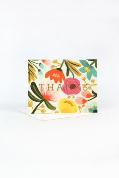 Thank some in the nicest way  Buy Rifle Paper Co Thank You Card - Gold Floral - NoteMaker Stationery