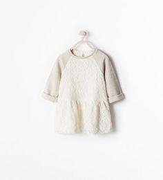 MIXED FABRICS LACE DRESS from Zara
