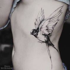 Swallow in Flight Woman's Side Piece | Best tattoo ideas