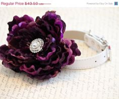 Eggplant+Wedding+Dog+Collars++High+Quality+Leather+by+LADogStore,+$34.80