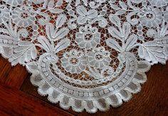 Em's Heart Antique Linens -Antique Belgian Duchesse Bobbin Lace Fichu Shawl