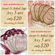 Sweet Confections Tags Baked Goods Tags Food Labels by amaretto