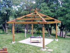 Custom steel gazebo style shade structure frame, customer provided separate roofing materials.