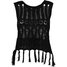 Boohoo Lottie Crochet Tassel Vest | Boohoo (555 RUB) ❤ liked on Polyvore featuring outerwear, vests, tassel vest, vest waistcoat, macrame vest and crochet vest