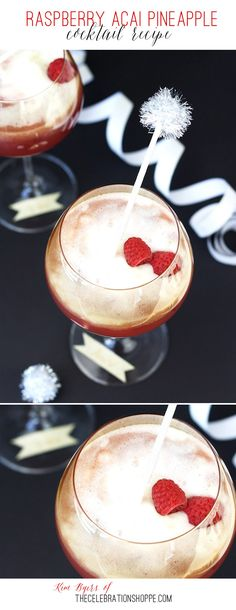 Raspberry Acai Pineapple Cocktail Recipe - So yummy - Perfect for Girls NIght… Holiday Punch, Holiday Drinks, Fun Drinks, Yummy Drinks, Yummy Food, Mixed Drinks, Alcoholic Drinks, Beverages, Champaign Cocktails