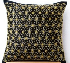 Gold Hemp Leaf Embroidery Sashiko Pillow Case On Black Faux Silk Designer Cushion