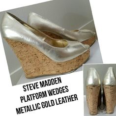 HP {Steve Madden} platform wedges HOST PICK  BEST IN SHOES  4-7-16 @leleperry64  Steve Madden Mettalic Gold Leather Cork Platform Wedges Open Toe, Peep Toe Size 8 Like-New Condition (Only worn for a photo shoot)   Summer * Shoes * Platforms * Leg Lengthening * Easy to Walk In Steve Madden Shoes Platforms
