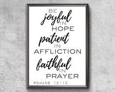 Bible Verse Print Be Joyful In Hope Romans 12 12 Small Canvas Art, Canvas Wall Art, Scripture Wall Art, Bible Verses, Pallet Designs, Romans 12, Joyful, Printable Wall Art, Framed Prints