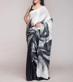 Black and White Digitally Printed Silk Satin Saree