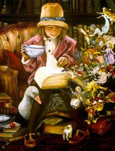 """Mother Goose"" reproduction of a painting by Lori Preusch, Dandelion, Inc., Durango, Colorado. (From Mother Goose: A Scholarly Exploration, Principal Investigator: Kay E. Vandergrift, Professor Emerita, Rutgers University)"