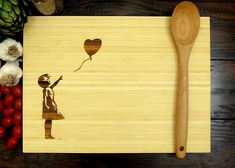 Banksy, Bamboo Cutting Board, Wood Burning Art, 30th Birthday Gift, Foodie Gift, Chef Gift