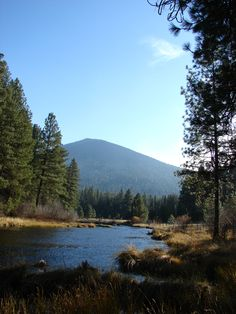 The namesake of Black Butte Porter with the crystal clear Metolious River flowing in front.