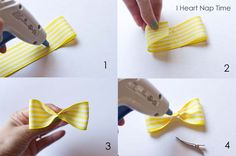 Ideas For Baby Diy Accessories Bow Tutorial Diy Hair Bows, Diy Bow, Diy Ribbon, Ribbon Hair, Paper Ribbon, Ribbon Flower, Fabric Flowers, Cute Crafts, Diy Crafts