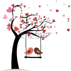 Illustration about Two birds in love on abstract tree with heart leaf. Illustration of painting, sketching, symbol - 32725246 Vogel Clipart, Bird Clipart, Tree Clipart, Clipart Images, Wall Painting Decor, Love Posters, Heart Art, Valentines Diy, Paint Designs