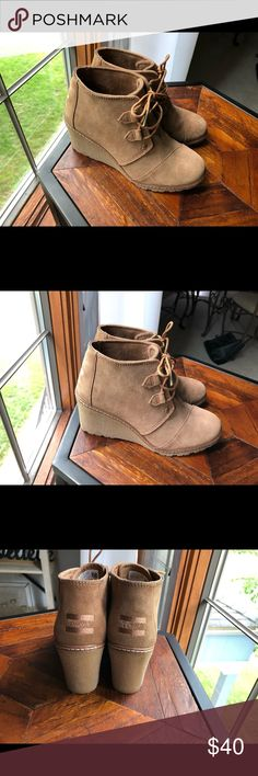 df73b3688 TOMS Desert Wedge Bootie Worn a few times. Left shoe texture turned hard  after cleaning