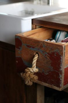 Drawer pulls on the small rustic storage in the spare room