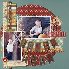 Double Banner in the middle of the page--Hello Fall - Scrapbook.com  OMG LOVE LOVE this did i say LOVE!!!!