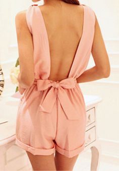 Baby Pink Bow Cutout Back - Deep V-Neckline Romper
