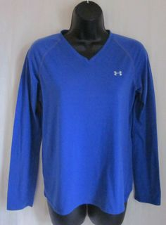 UNDER ARMOUR Women's Blue V-Neck Long Sleeve Top M Medium #UnderArmour…