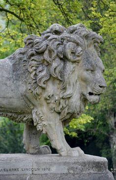 Lincoln Arboretum Lion Walking, Stone Lion, Cemetery Statues, Pride Rock, Lion Art, Lion Tattoo, Stone Carving, Artemis, Sculpture Art