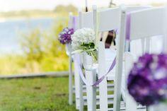 Lake Décor Aisle Flower Idea via Every Last Detail ~ Photo By Pure Sugar Studios #LakeWedding #WeddingFlowers #MasonJarVase