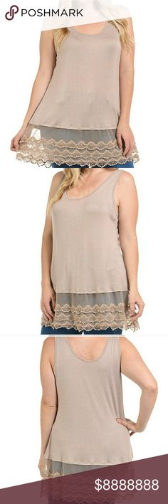 🎉COMING SOON!!🎉Taupe Lace Hem Tank 🎉❤LIKE THIS LISTING TO BE NOTIFIED WHEN THEY ARRIVE❤🎉 Details: ❤97% Rayon and 3% Spandex ❤Taupe ❤$36 ❤1X 2X 3X 4X ❤No trades Tops Tank Tops