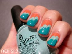 Today's+Daily+Nail+Art+is+this+orange+and+teal+scalloped+edge+design+by+nailside.+