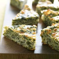 Cheesy Spinach Snacks Recipe. 1 cup  all-purpose flour 1 teaspoon  baking powder 1/2 teaspoon  salt 1 cup  milk 2 eggs 1 10 ounce package frozen chopped spinach, thawed and squeezed dry 2 cups  Monterey Jack cheese, shredded